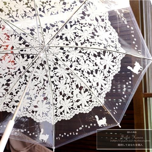 包邮韩国日系创意猫咪透明雨伞 仿蕾丝伞透明伞长柄伞晴雨伞女