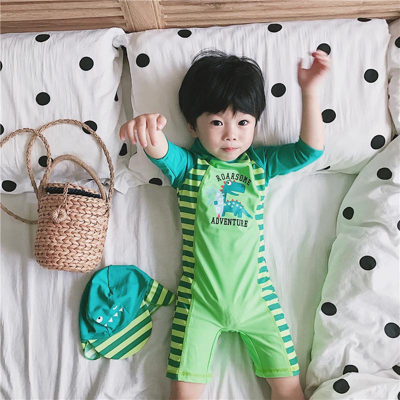 券后39.90元新款儿童泳衣男童连体绿恐龙条纹可爱宝宝婴儿泳裤带防晒帽度假