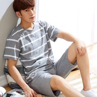 male cotton pajamas short sleeve with Thin shorts summer