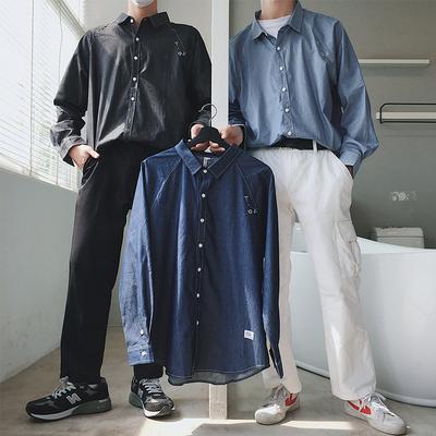 18秋季新款港风男牛仔衬衣学生百搭宽松刺绣衬衫上衣504-C302-P55