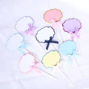 生日蛋糕装饰插牌蝴蝶结可写字祝福语烘焙插卡派对DIY表白网红卡