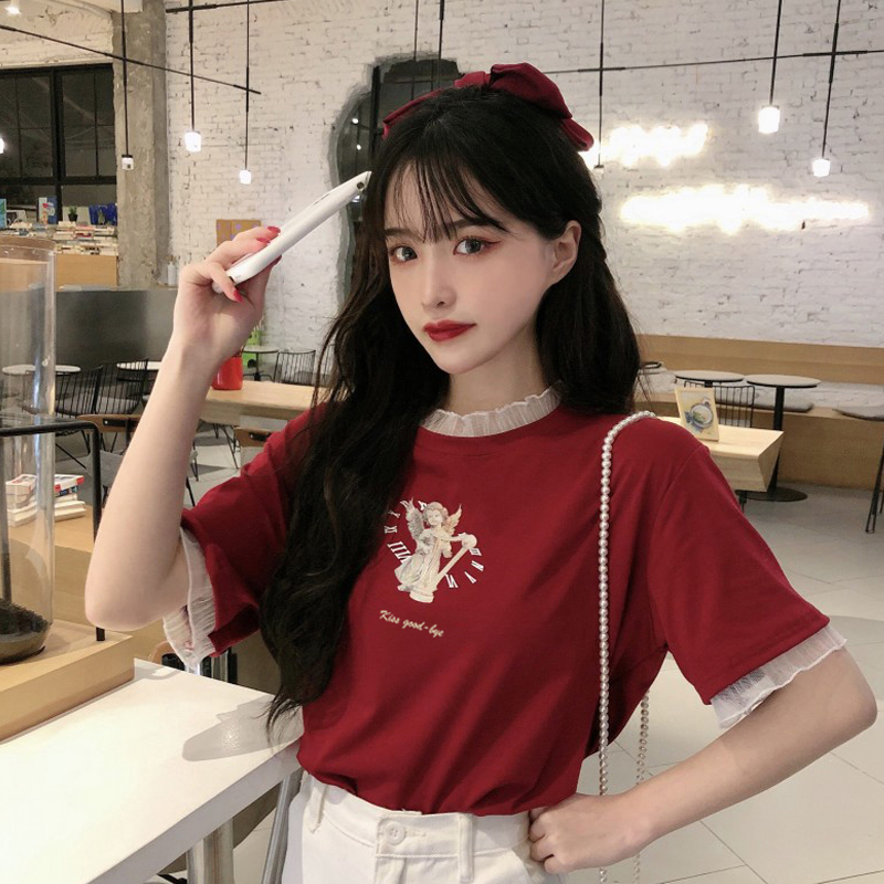 蘑菇MG小象 女装旗舰家拼接假两件短袖T恤女网红宽松打底衫上衣潮