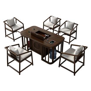 電動升降茶桌椅組合智能新中式禪意實木功夫茶几茶台一體式辦公室