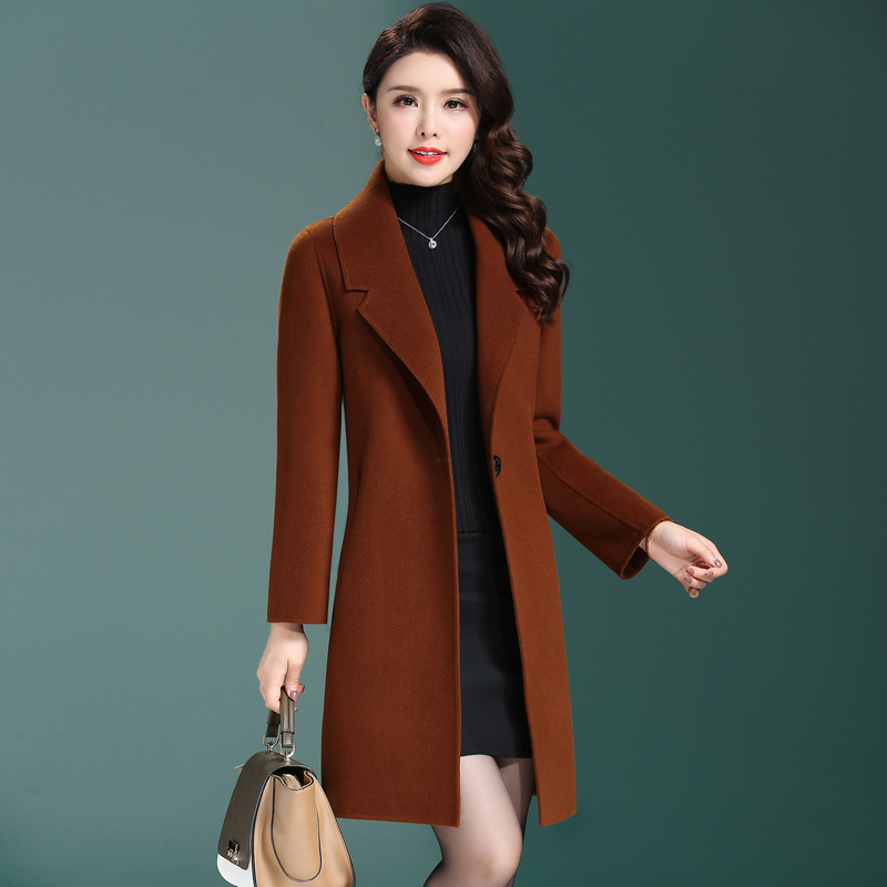 Double sided cashmere coat womens 2020 new autumn and winter Hepburn style double-sided tweed medium and long waist wool coat