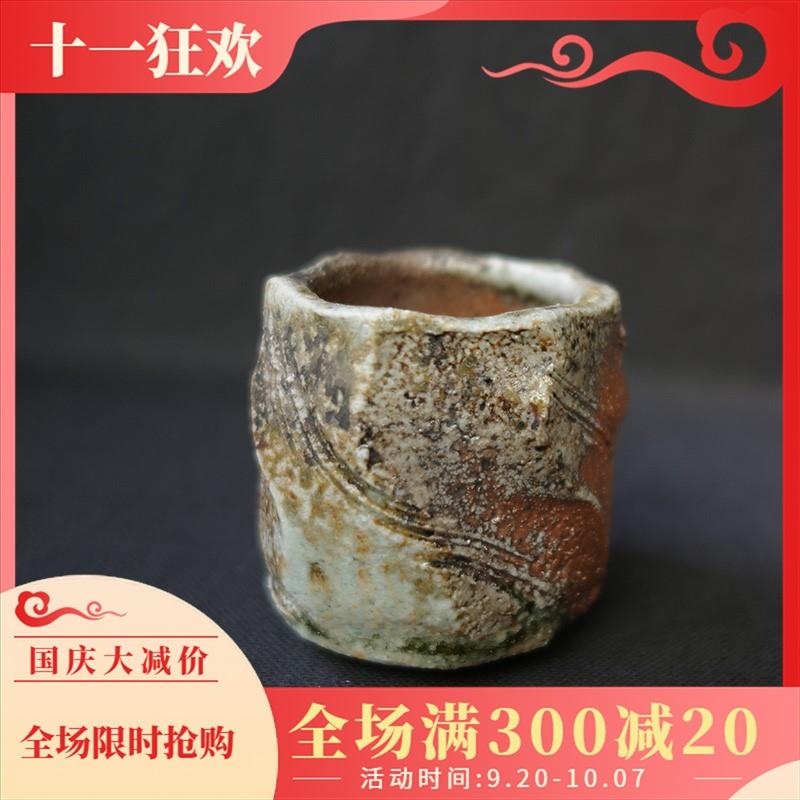 柴烧杯 纯手工志野釉茶杯 陶瓷主人杯 原矿柴窑日式品茗杯