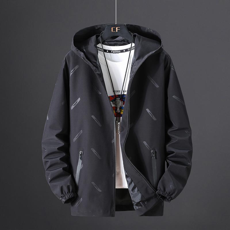 加肥加大外套男春秋新款运动胖子上衣休闲青年可穿320斤纯色夹克