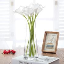 欧式简约束腰玻璃花瓶创意透明插花玻璃餐桌客厅装饰花干花器摆件