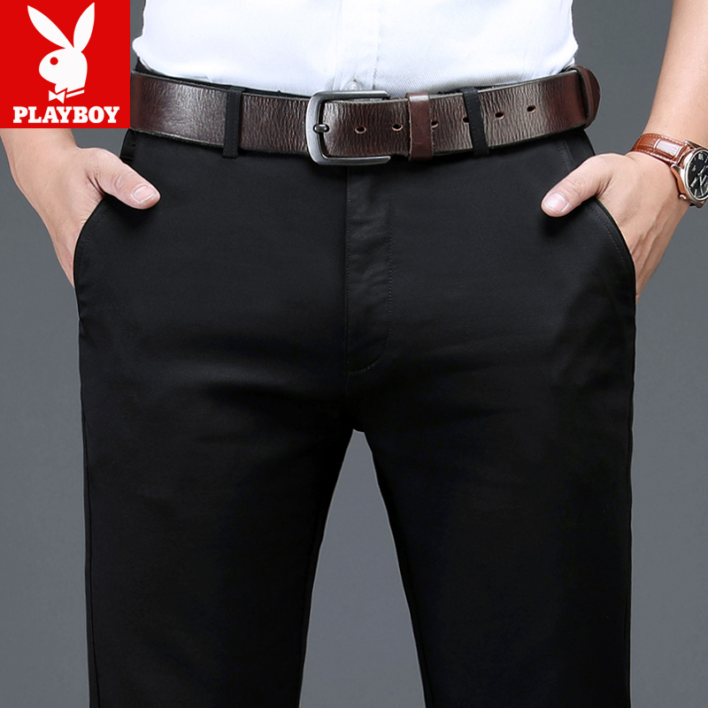 Playboy casual pants mens straight tube loose autumn mens trousers mens winter trousers Plush autumn and winter trousers