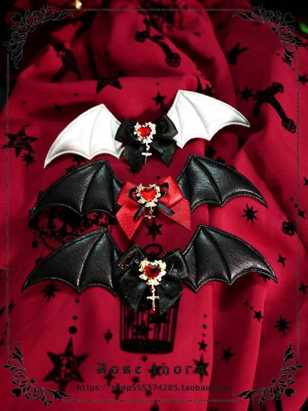 Original little bat cross love hairpin Brooch shoe clip can be worn with holy Halloween Gothic Lolita