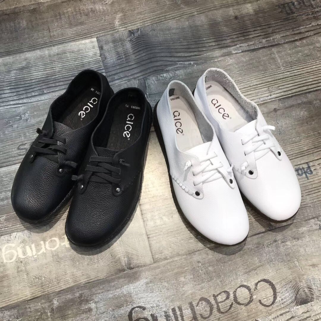 Jin Wang spring and autumn European station small white shoes womens foreign trade original single womens leather casual shoes comfortable soft Oxford flat bottom