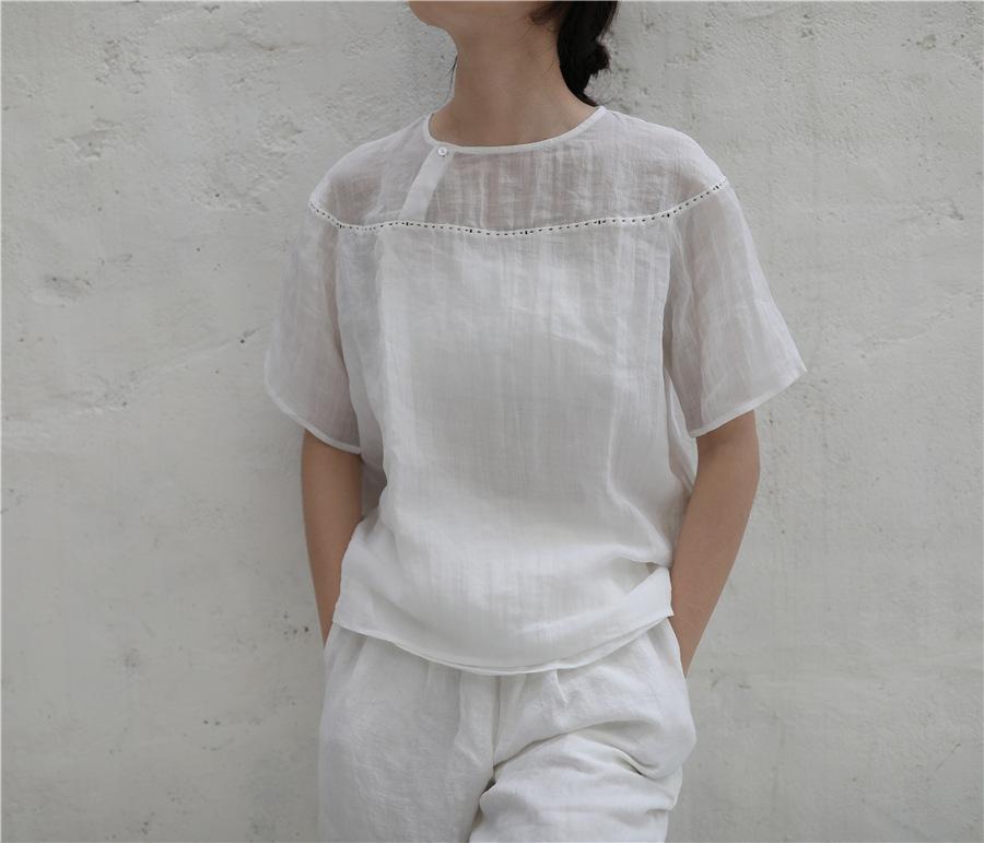 肌理纯苎麻拼接双层不透亚麻白衬衫