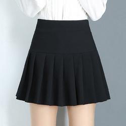 女短裙秋冬半身裙黑色百褶裙新款防走光大码高腰a字显瘦打底厚款