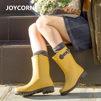 Joycorn medium barrel rain boots with velvet shoes female adult fashion warm &; Boots waterproof shoes anti-skid shoe water shoes