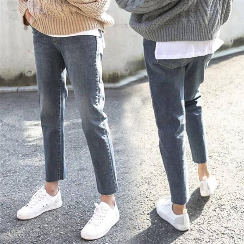 2018秋季新款200斤胖MM大码女装韩版高腰弹力复古直筒九分牛仔裤