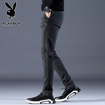 Playboy mens pants Korean version of the trend of casual pants slim feet pants mens pants spring and autumn trousers fall