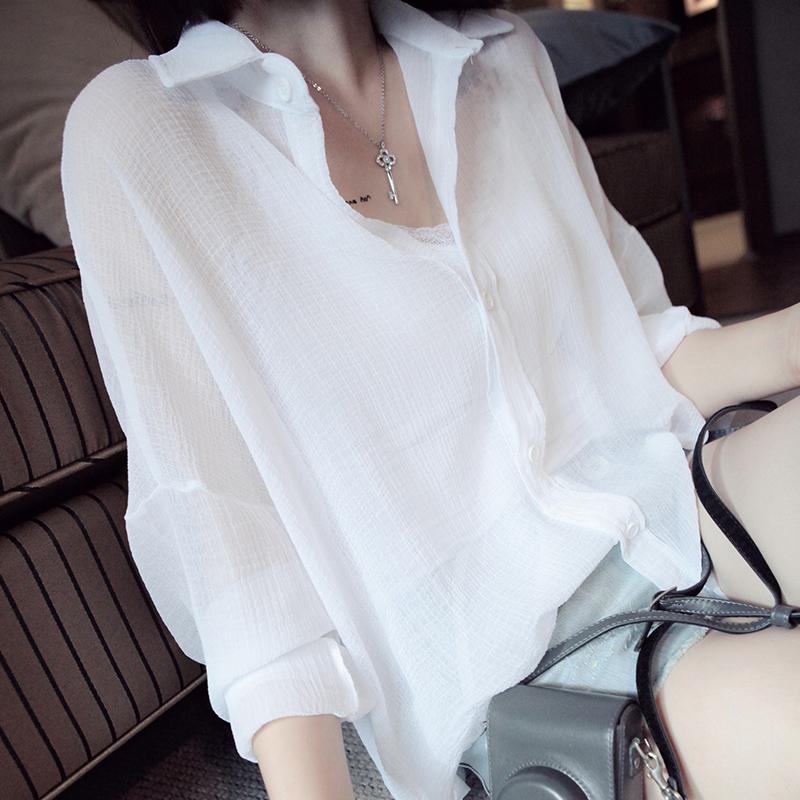 2018新款夏季衬衫女薄款雪纺披肩外搭上衣宽松大码防晒衣开衫外套
