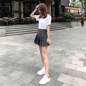 领3元券购买a字裙学院格子港味高腰2019百褶裙