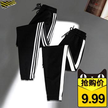 女裤夏季宽松直筒九分黑色运动裤