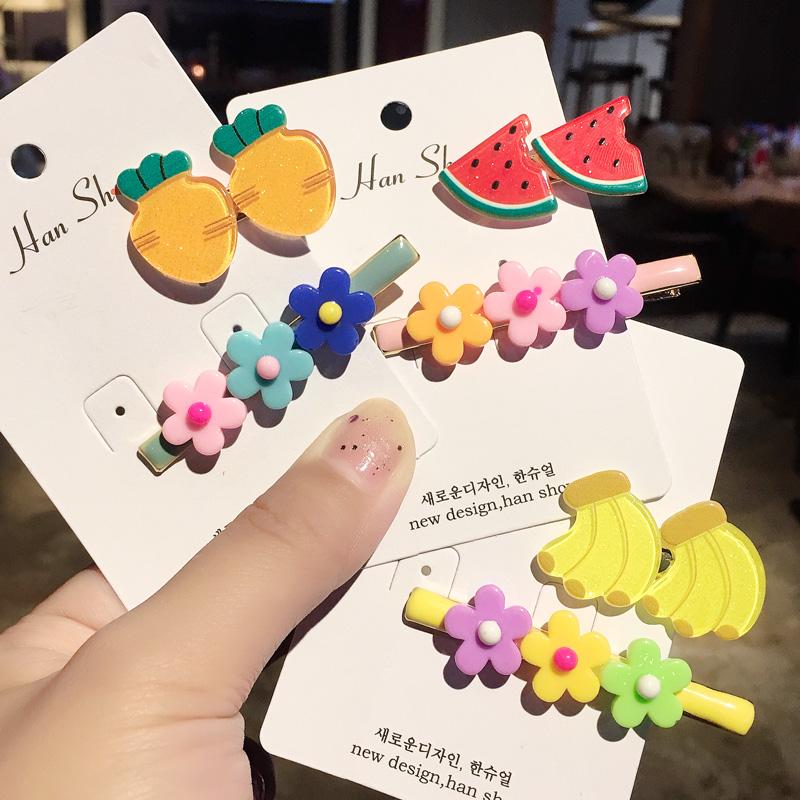 (用0.1元券)韩版ins泫雅风少女小清新花朵发夹2件组合童趣可爱糖果色水果bb夹