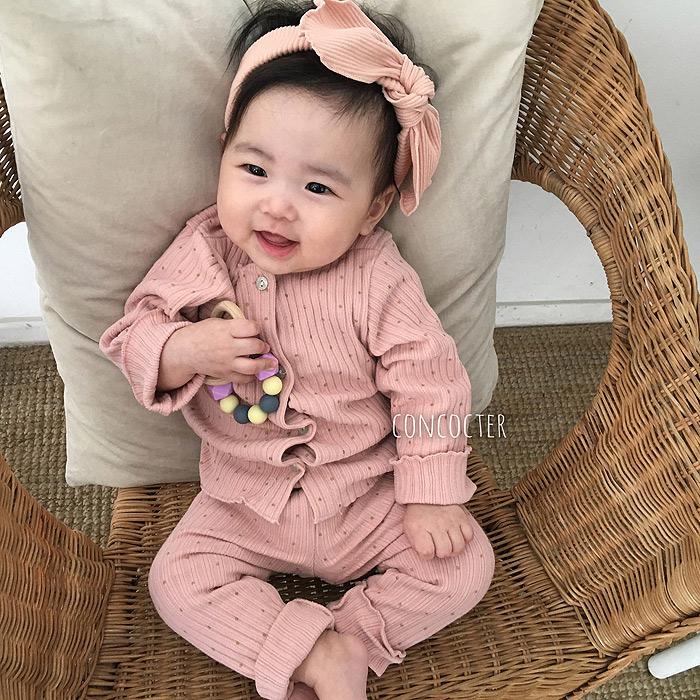 韩国进口婴幼儿长袖套装宝宝木耳边舒适开衫打底裤两件套家居服