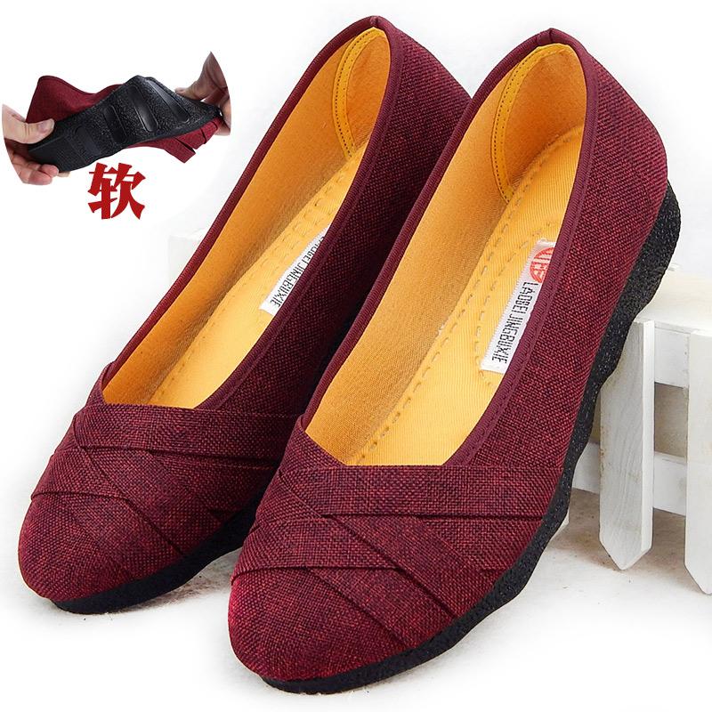 女鞋懒人鞋一脚蹬春季孕妇鞋春秋妈妈休闲老北京布鞋女软底帆布鞋
