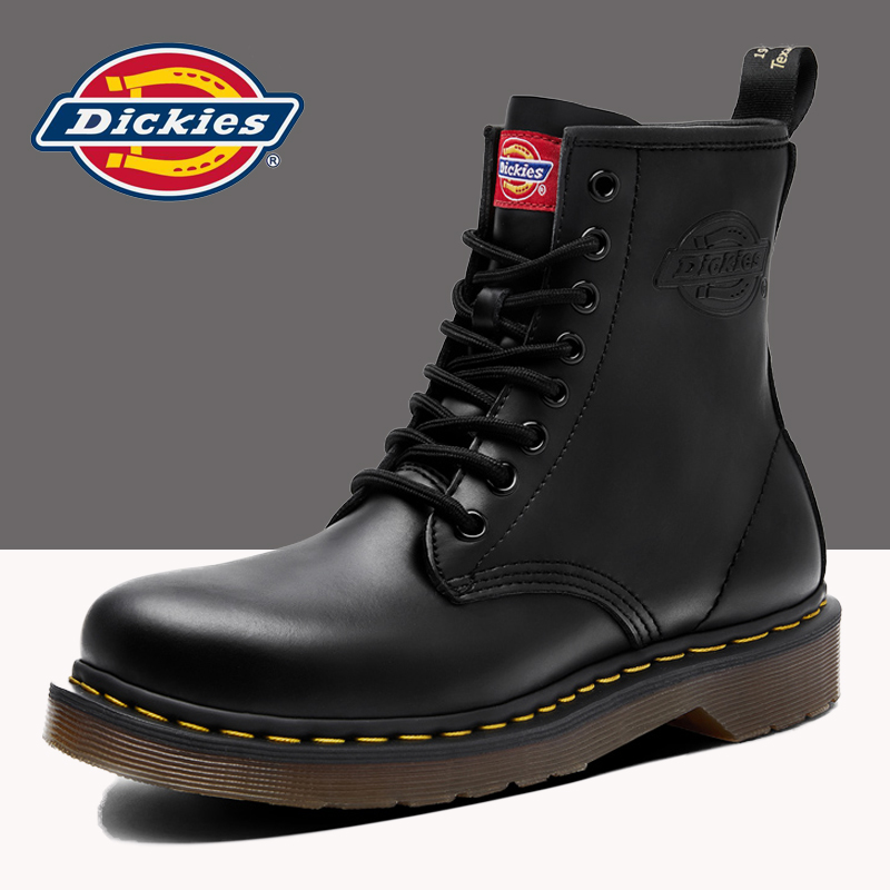 Dickies Martin boots men's autumn and winter plus velvet warm high-top snow cotton shoes tooling short boots leather boots men