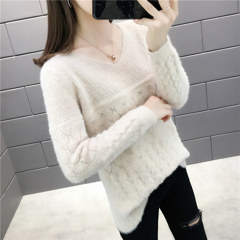 2019 Korean autumn new knitwear V-neck Pullover long wool hollow sweater long sleeve womens bottoming sweater is very fashionable