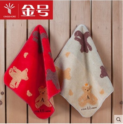 Full 35 packets of postal gold number towel counter genuine cartoon pure cotton velvet cut round corner childrens small square towel handkerchief