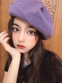 贝雷帽女春夏薄款透气牛奶丝画家帽日系百搭英伦复古蓓蕾帽紫色帽