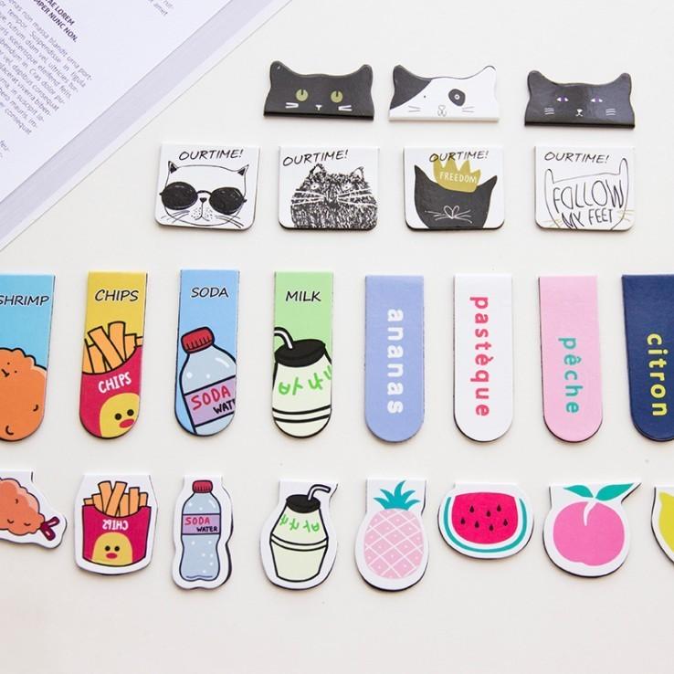 韩国文具小清新学生用可爱卡通磁性磁铁书签创意迷你书夹翻书夹子