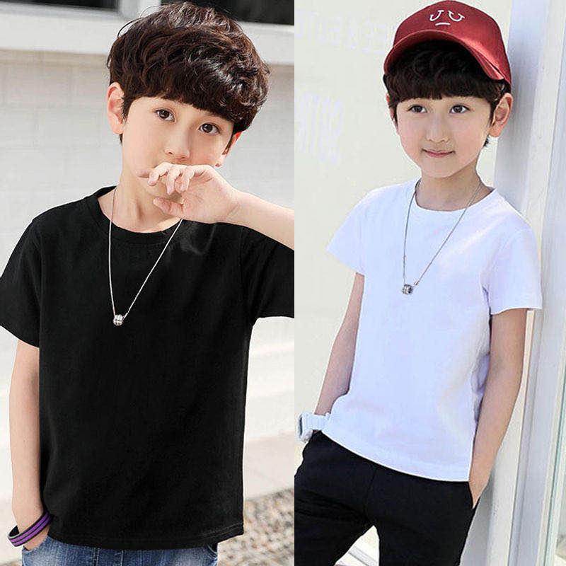 夏装儿童t恤短袖纯棉纯色半袖男童打底衫黑白色小男孩童装上衣