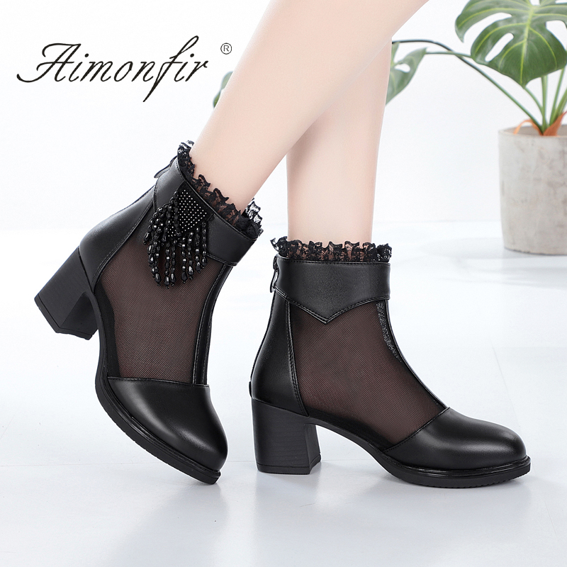 Leather mesh boots womens 2021 spring new thick heel ladys mesh sandals fish mouth middle heel mothers cool boots big size