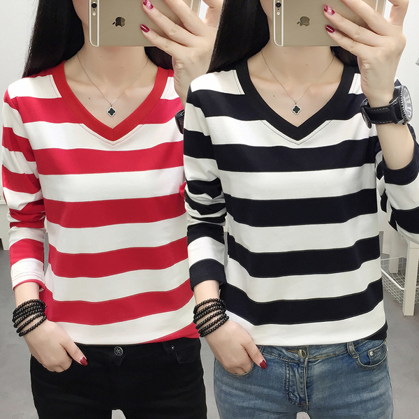 Stripe 2021 autumn new all cotton long sleeve T-shirt womens soil blood sports casual top bottomed small shirt