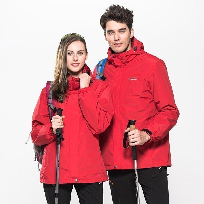 户外冲锋衣可拆卸秋冬装中国红本命年大红色外套上衣冬季加厚男女
