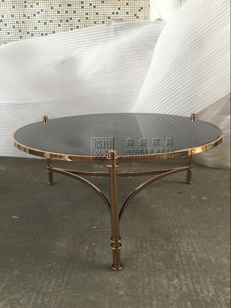 欧式新古典玫瑰金不锈钢茶几/时尚经典客厅钢化玻璃面沙发茶几
