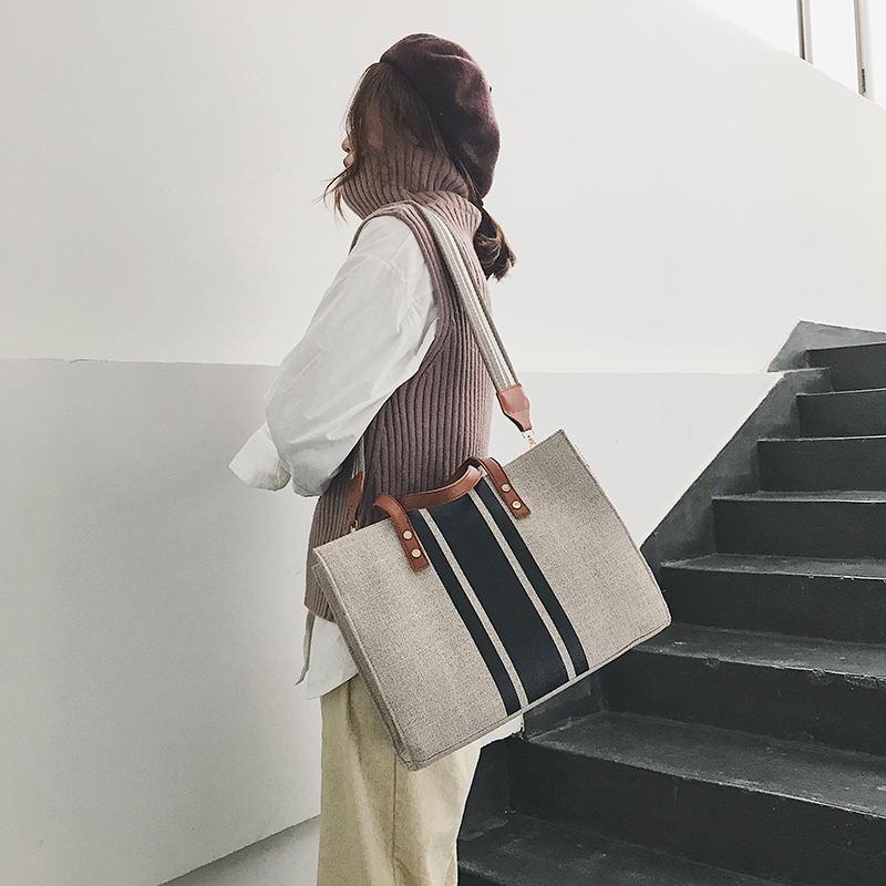 新款韩版时尚女士手提包OL职业商务通勤公文包大学生上课单肩布包图片