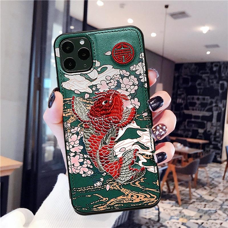 国潮アップルx携帯ケース11 pro皮質iphone 8/7 plus刺繍6 s/xsmaxs女性xrカップルケース