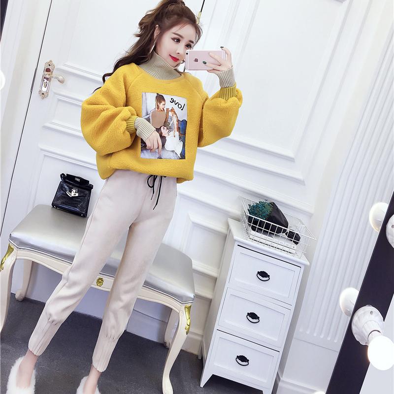 网红两件套装俏皮冬季女装韩版气质宽松羊羔毛高领卫衣高腰萝卜裤