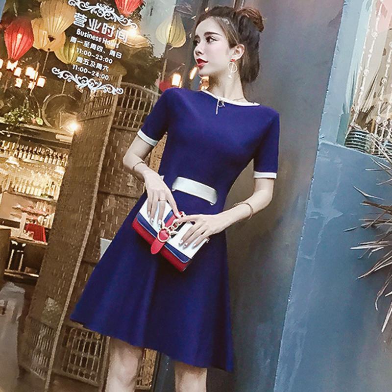 2018夏装新款女装韩版气质撞色圆领短袖后背绑带蝴蝶结针织连衣裙