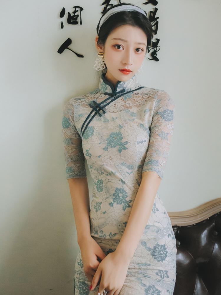 限3000张券复古中国风青花瓷旗袍民国风连衣裙