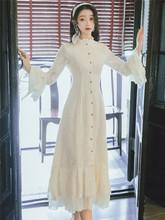 2019复古蕾丝裙子民国修身旗袍改良版连衣裙年轻款秋季新款仙女裙