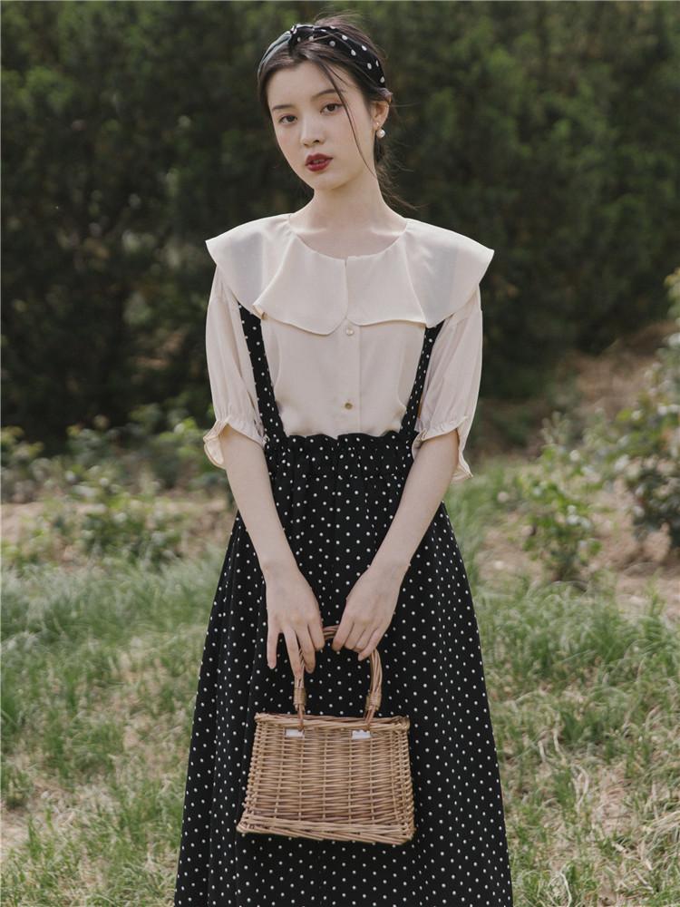 夏装新式连衣裙法式复古御姐套装波点衬衫半身裙法国小众两件套裙