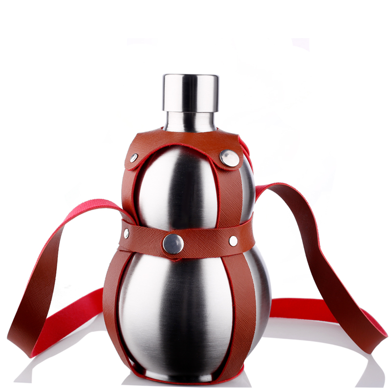 304不锈钢葫芦酒壶 户外便携酒葫芦水壶背带皮套 加厚不锈钢酒壶