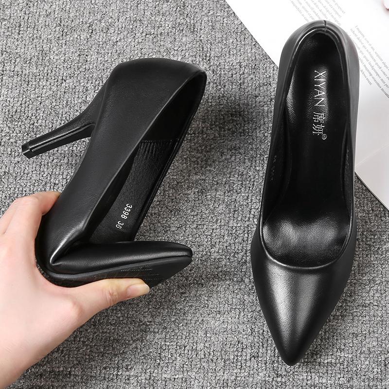 真皮高跟尖头单鞋女2021春秋新款细跟礼仪中跟面试正装职业工作鞋