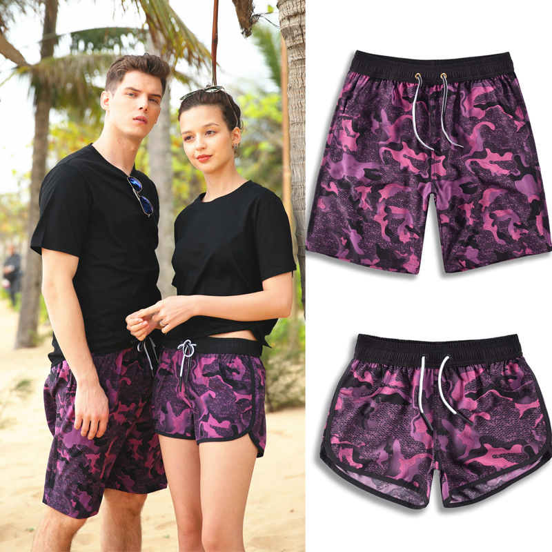 Four side playing camouflage series lovers beach pants mens Beach Holiday fast drying shorts womens swimming trunks