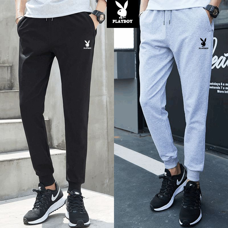 Playboy sports pants mens pants spring and autumn and winter Plush thickened cotton loose large running casual pants