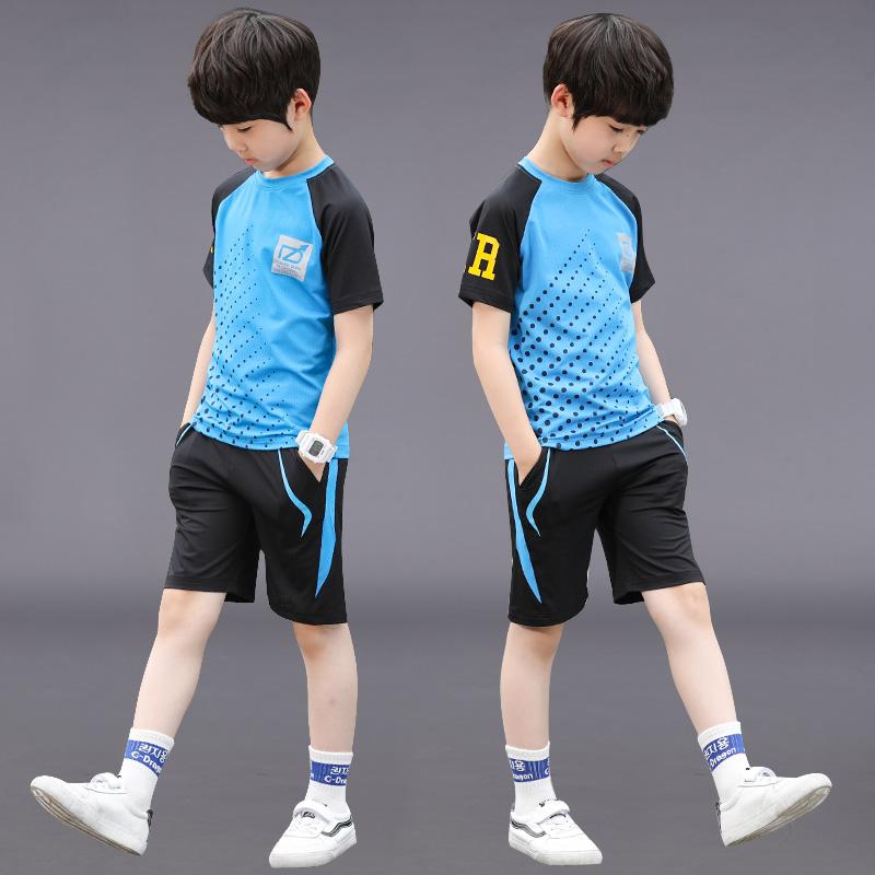 男童装夏装运动速干衣套装2019夏季新款大童男孩儿童足球服两件套假一赔十