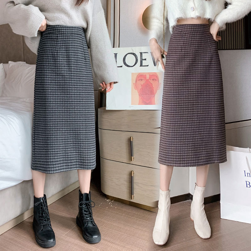 格子半身裙女秋冬复古气质时尚显瘦中长款a字开叉毛呢一步包臀裙
