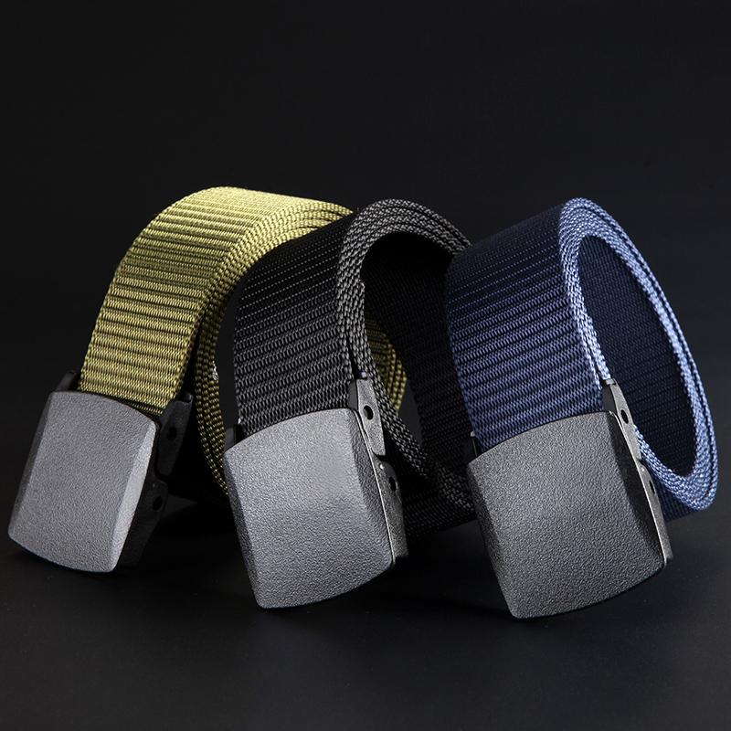 腰带男女帆布皮带潮运动户外军训学生无铁金属塑料扣休闲牛仔裤带
