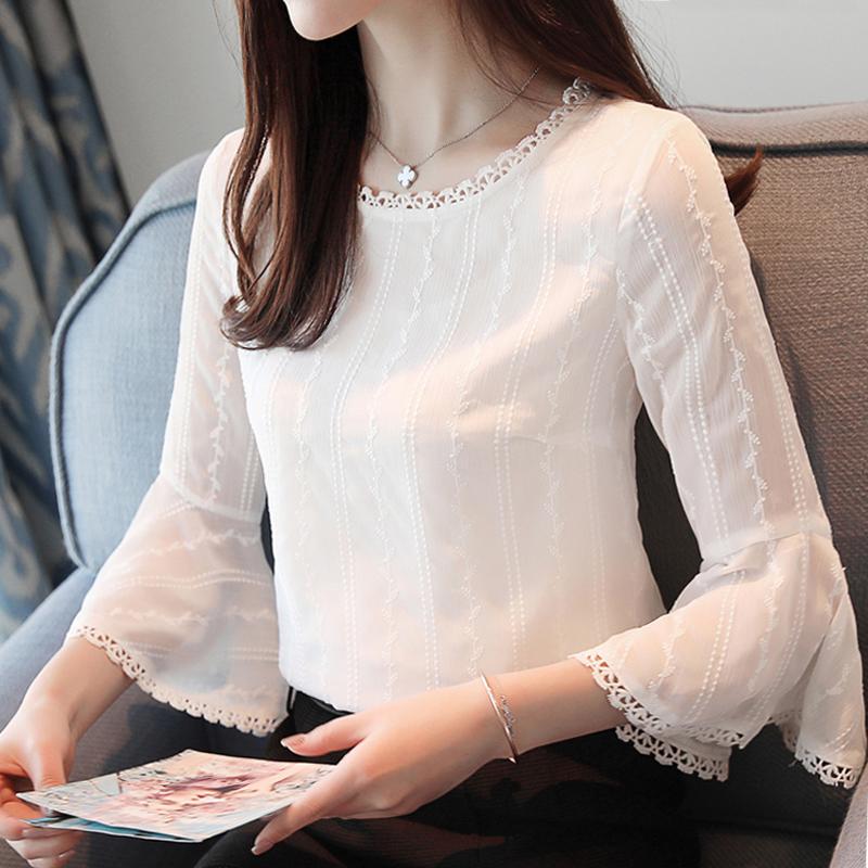 蕾丝衫女2019秋装新款韩版雪纺衫10月12日最新优惠